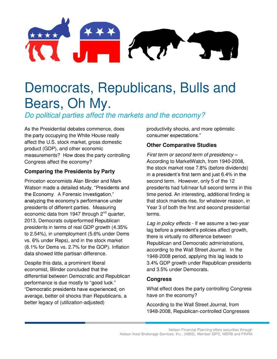 Democrats, Republicans, Bulls and Bears Oh My
