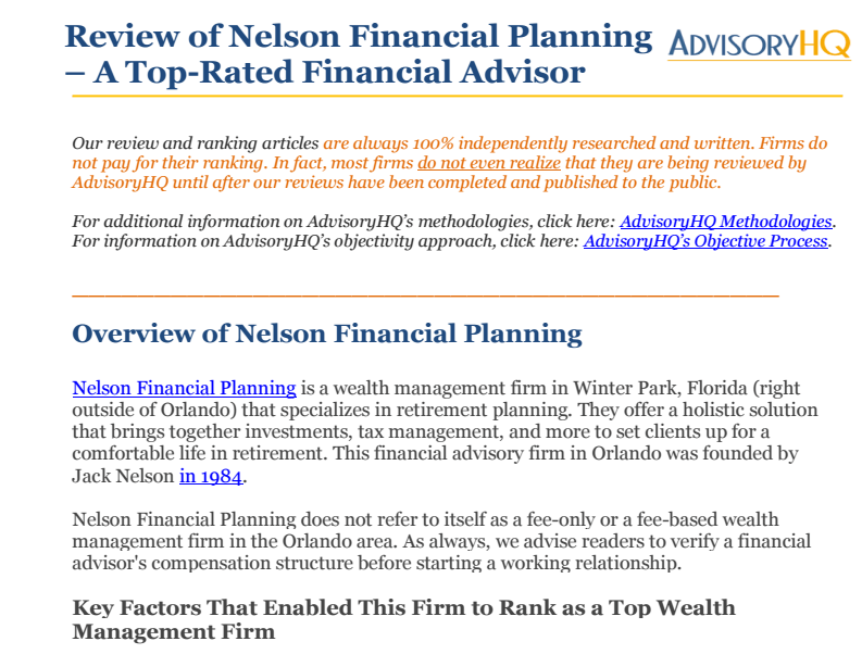 Overview of Nelson Financial Planning