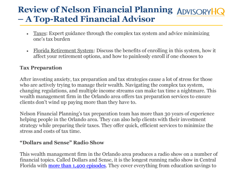 Article Link for top Financial Advisors in Orlando, FL